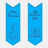 Μπλε εμβλήματα Χριστουγέννων στο αναδρομικό ύφος Στοκ φωτογραφία με δικαίωμα ελεύθερης χρήσης