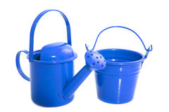 Μπλε εξοπλισμός κήπων Στοκ Φωτογραφία