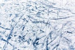 Μπλε επιφάνεια πάγου με τις γρατσουνιές Στοκ Εικόνα