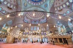 Μπλε εσωτερικό της Ιστανμπούλ μουσουλμανικών τεμενών Στοκ εικόνα με δικαίωμα ελεύθερης χρήσης