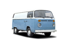 Μπλε λευκό φορτηγών T2 της VW Στοκ Εικόνες