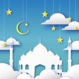 Μπλε ευχετήρια κάρτα Ramadan Kareem Αραβικό μουσουλμανικό τέμενος παραθύρων, σύννεφα, χρυσά αστέρια το έγγραφο έκοψε το ύφος Σχέδ