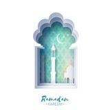 Μπλε ευχετήρια κάρτα Ramadan Kareem παραθύρων μουσουλμανικών τεμενών Origami με το αραβικό σχέδιο arabesque