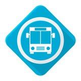 Μπλε λεωφορείο εικονιδίων με τη μακριά σκιά Στοκ Φωτογραφία