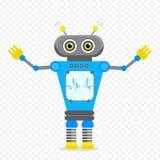 Μπλε εύθυμος χαρακτήρας ρομπότ κινούμενων σχεδίων Στοκ Εικόνα