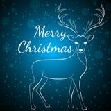 Μπλε ελάφια Χαρούμενα Χριστούγεννας Στοκ Εικόνα