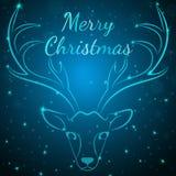 Μπλε ελάφια Χαρούμενα Χριστούγεννας Στοκ Εικόνες