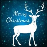 Μπλε ελάφια Χαρούμενα Χριστούγεννας Στοκ φωτογραφία με δικαίωμα ελεύθερης χρήσης