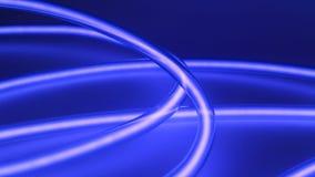 Μπλε ελαφριά έμπνευση ενεργειακής πυράκτωσης Η μορφή κύκλων νέου νύχτας ανάβει τη διακόσμηση απόθεμα βίντεο