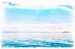 Μπλε ζωγραφική Watercolor οριζόντων ψηφιακή Στοκ Εικόνες