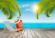 μπλε ζωηρόχρωμες διακοπές ομπρελών ουρανού παραλιών ανασκόπησης Παραλία με τους φοίνικες και την μπλε θάλασσα διανυσματική απεικόνιση