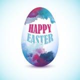 Μπλε ζωηρόχρωμο αυγό με την επίδραση watercolor για τη ευχετήρια κάρτα με Στοκ φωτογραφία με δικαίωμα ελεύθερης χρήσης