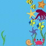 Διανυσματική κάρτα με τα ζώα θάλασσας Στοκ φωτογραφίες με δικαίωμα ελεύθερης χρήσης