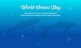Μπλε διάνυσμα παγκόσμιας ωκεάνιο ημέρας υποβάθρου επίπεδο Στοκ φωτογραφία με δικαίωμα ελεύθερης χρήσης