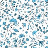Μπλε διάνυσμα σχεδίων λουλουδιών άνευ ραφής απεικόνιση αποθεμάτων