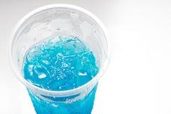 Μπλε διάτρηση στο πλαστικό γυαλί Στοκ Φωτογραφία