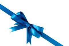 Μπλε διαγώνιος γωνιών κορδελλών δώρων τόξων στοκ εικόνες με δικαίωμα ελεύθερης χρήσης
