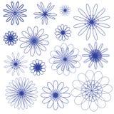 Μπλε διανυσματικά λουλούδια doodle στο άσπρο υπόβαθρο Στοκ Εικόνα