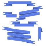 Μπλε διανυσματικές κορδέλλες καθορισμένες απεικόνιση αποθεμάτων