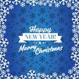 Μπλε διανυσματική ανασκόπηση Χριστουγέννων Κάρτα ή πρόσκληση Στοκ Εικόνες