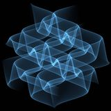 Μπλε διαφανή κύματα στο μαύρο υπόβαθρο abstract background illustration Σχέδιο προτύπων φυλλάδιων Στοκ φωτογραφίες με δικαίωμα ελεύθερης χρήσης
