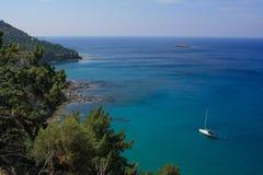Μπλε λιμνοθάλασσα, Akamas, Κύπρος Στοκ Φωτογραφία