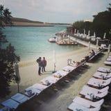 Μπλε ιδιωτική παραλία Ibiza Ε.Α.Ε. μαρλίν Στοκ εικόνα με δικαίωμα ελεύθερης χρήσης