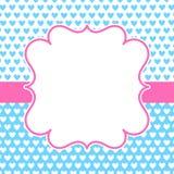 Μπλε κάρτα βαλεντίνων πλαισίων καρδιών ροζ διανυσματική απεικόνιση