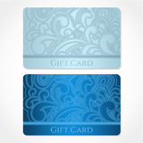 Μπλε κάρτα δώρων (κάρτα έκπτωσης, επαγγελματική κάρτα). Flo Στοκ Εικόνες