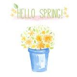 Μπλε κάδος με τα πορτοκαλιά και κίτρινα λουλούδια. Διανυσματική απεικόνιση watercolor Στοκ Φωτογραφίες
