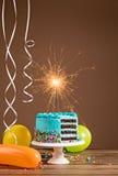 μπλε κέικ γενεθλίων Στοκ Φωτογραφία