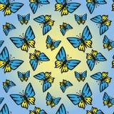 Μπλε-κίτρινη άνευ ραφής σύσταση πεταλούδων διανυσματική απεικόνιση