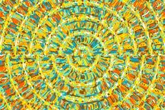Μπλε κίτρινη και καφετιά αφηρημένη ζωγραφική Στοκ φωτογραφία με δικαίωμα ελεύθερης χρήσης