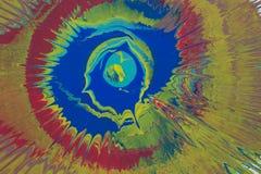 Μπλε, κίτρινοι, κόκκινοι παφλασμοί του χρώματος στο χαρτόνι Στοκ εικόνες με δικαίωμα ελεύθερης χρήσης