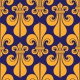 Μπλε & κίτρινος άνευ ραφής βασιλικός κρίνος οικοσημολογίας σχεδίων Στοκ φωτογραφία με δικαίωμα ελεύθερης χρήσης
