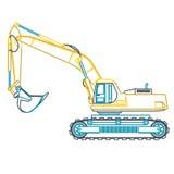 Μπλε κίτρινος μεγάλος digger περιλήψεων στηρίζεται τους δρόμους στο λευκό Σκάψιμο του εδάφους βαριά μηχανήματα ελεύθερη απεικόνιση δικαιώματος