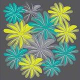 Μπλε κίτρινο και γκρίζο διαφανές λουλούδι στο σκούρο γκρι υπόβαθρο Στοκ Φωτογραφίες