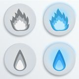 Μπλε, καθορισμένα εικονίδια φλογών πυρκαγιάς, διανυσματική απεικόνιση Στοκ Εικόνες