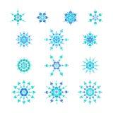 μπλε καθορισμένα snowflakes Απεικόνιση αποθεμάτων
