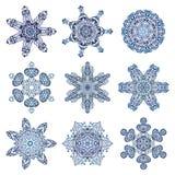 μπλε καθορισμένο snowflake ανασκόπησης διάνυσμα Απεικόνιση αποθεμάτων