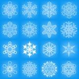 μπλε καθορισμένο snowflake ανασκόπησης διάνυσμα Στοκ Εικόνα