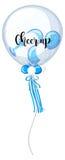 Μπλε και άσπρα μπαλόνια με την ευθυμία λέξης επάνω απεικόνιση αποθεμάτων