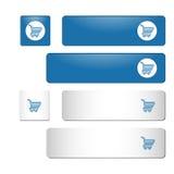 Μπλε και άσπρα τετραγωνικά και ορθογώνια κουμπιά με το κάρρο αγορών Στοκ Εικόνες