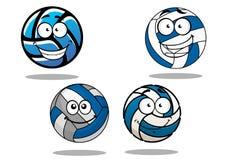 Μπλε και άσπρες σφαίρες πετοσφαίρισης Cartooned Στοκ Εικόνες