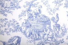 Μπλε και άσπρη γαλλική μπαρόκ ταπετσαρία σχεδίων Στοκ Φωτογραφία