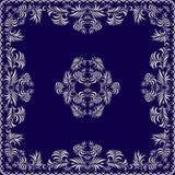 Μπλε και άσπρου σχέδιο Bandana, με τα φύλλα Διανυσματικό τετράγωνο τυπωμένων υλών Στοκ εικόνα με δικαίωμα ελεύθερης χρήσης