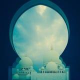 Μπλε και άσπρο ισλαμικό μουσουλμανικό τέμενος Στοκ εικόνα με δικαίωμα ελεύθερης χρήσης
