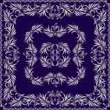 Μπλε και άσπρο σχέδιο Bandana Διανυσματικό τετράγωνο τυπωμένων υλών Στοκ εικόνες με δικαίωμα ελεύθερης χρήσης