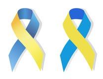 Μπλε και κίτρινο σύμβολο κορδελλών των ανθρώπων με το κάτω σύνδρομο ελεύθερη απεικόνιση δικαιώματος