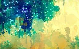 Μπλε και κίτρινο υπόβαθρο κτυπημάτων βουρτσών σπινθηρίσματος Αμερικανός διακοσμεί διανυσματική έκδοση συμβόλων σχεδίου την πατριω Στοκ Εικόνες